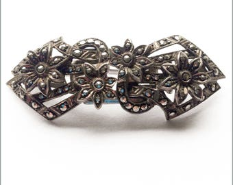 German Art Deco Sterling Silver and Marcasite Brooch / Clips