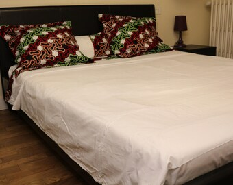 Bed set: flat sheet, fitted sheet and 2 pillowcases