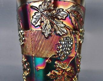 Carnival Glass - Fenton FLORAL & GRAPE Cobalt Blue Tumbler
