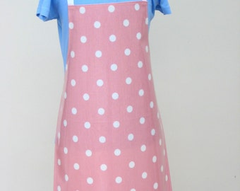 Child's Pvc Apron Pale Pink with White Spots - Olicloth Apron, Waterproof Apron