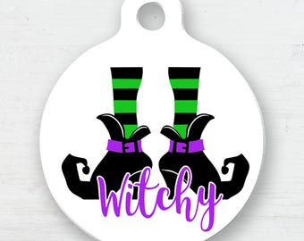 Witchy Witch Feet Pet ID Tag, Witch Pet Tag, Witch ID, Name Tag, Halloween Name Tag, Halloween Pet ID, Witch Feet Dog Tag, Cat Tag, Pet Tag