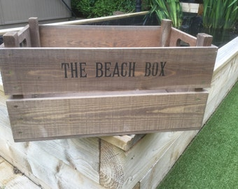 Wooden Vintage style reproduction Apple Crate Bushel Box The Beach Box