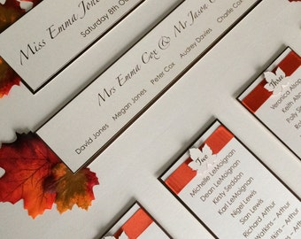 Table plan - Seating plan - Autumn Leaves - Fall table plan - Fall wedding - Autumn wedding - Rustic wedding - Falling leaves - leaves