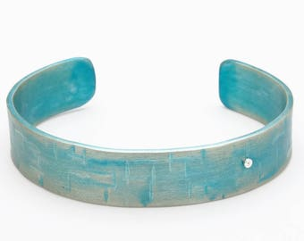Teal/ Green Cuff - Fold and Curve Collection – Anodized Aluminum Bracelet