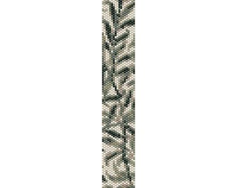 Leaves Peyote Bead Pattern, Bracelet Cuff Pattern, Bookmark Pattern, Seed Beading Pattern Miyuki Delica Size 11 Beads - PDF Instant Download