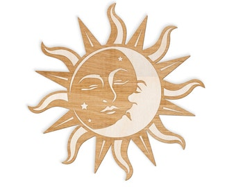 Sun and Moon Face Engraved Wood Sign - Spiritual Wall Art, Wood Sun, Wood Moon,  Bohemian Wall Art, Sun and Moon Art, Sun Moon Stars