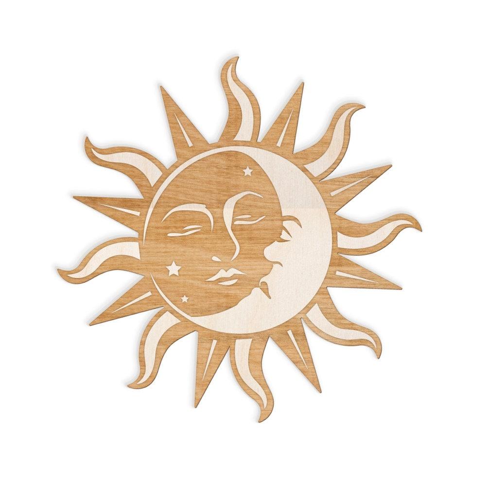 Favorite Sun and Moon Face Engraved Wood Sign Spiritual Wall Art VU49