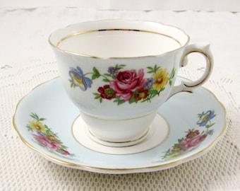 Colclough Blue Tea Cup and Saucer with Floral Bouquet, Vintage Teacup Set