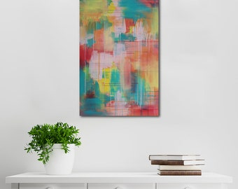 Colourful Abstract Canvas Art | Wall Art | Home Decor | Acrylic Art | Titled Hop To It Little Wanderer | By artist Charlie Albright