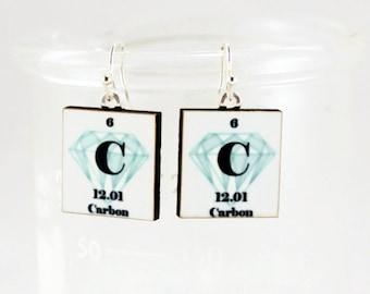 Diamond Earrings Science Chemistry Jewelry - Diamond Carbon Periodic Table - Gift Idea