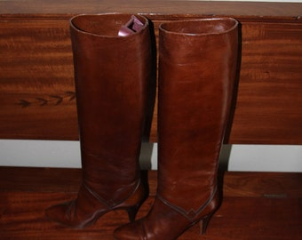 Vtg. Women's Elyse Italian Tall Leather Boots
