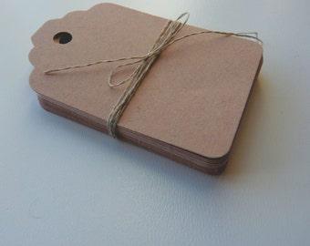 mittlerer Größe Leinen Buff Beige braun Uni Karte Preis hängen Geschenkanhänger