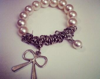 Bracelet perles et chaine métal argenté