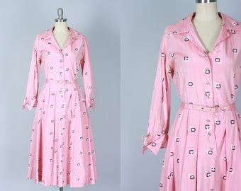 Vintage 1950s Dress | 50s Pink Atomic Geometric Print Shirtwaist Cocktail Party Dress with Rhinestone Buttons and Buckles | Large