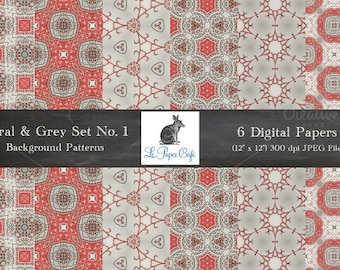 """Coral & Grey Floral Pattern Background Papers Collection No. 1 - 6 Backgrounds - 12""""x12"""" JPG files @ 300dpi"""