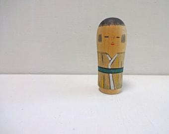 2.9in Vintage Japanese Miniature Wood KOKESHI Doll