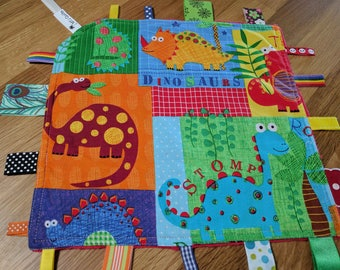 Taggie Baby, taggy, Blankie - security blanket, baby shower soft red minky backing bright dinos
