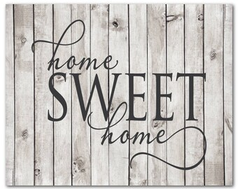 Home Sweet Home Farmhouse Sign CANVAS Wall Art - Bedroom Wall Decor - Housewarming Gift for couple - Inspirational quote - gift for wife