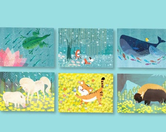 Assorted Whimsical Folded Notecard 6pack