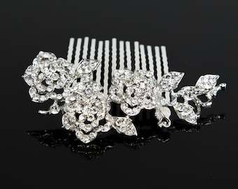 Silver rhinestone rose flower bling Hair Comb Clip Prom Wedding Accessories