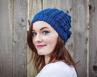 Peacock Blue Crochet Slouchy Hat