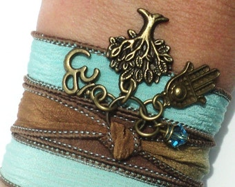 Tree of Life Hamsa Silk Wrap Bracelet Om Yoga Jewelry Namaste Aqua Blue Brown Kabbalah Necklace Earthy Unique Gift For Her Under 50 Item S16