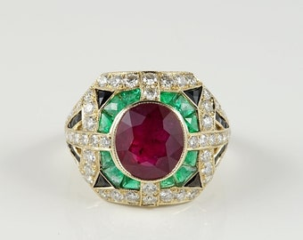 Superb 2.97 Ct ruby onyx emerald and 1.60 Ct diamond rare vintage ring