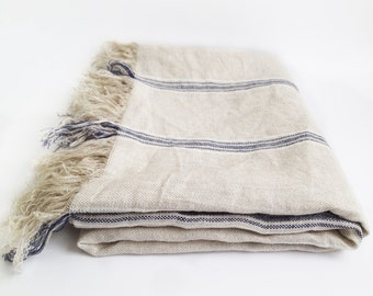 Linen blanket - Grey 100% linen blanket with stripes - Baltic linen blanket/Beach blanket/Bedspread/Bed cover/Plaid
