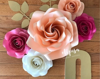 Initial 5 pc Paper Flower Set, Nursery Decor, Bedroom, Customize your colors