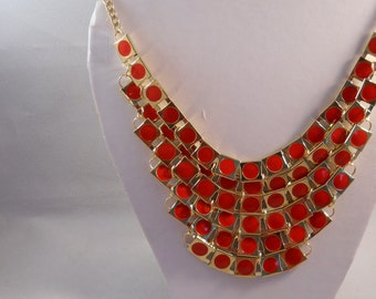 6 Row Bib Necklace with Red and Gold Tone Beads Gold Tone Chain