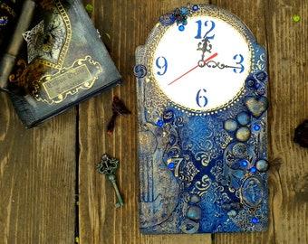 Mixed media wall clock, Wooden clock, Mixed media art, Wall art, Blue clock, Guitar clock, Wall decor, Mixed media artwork, Wall clock