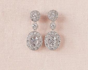 Bridal Earrings, Simple Crystal Wedding Earrings, Vintage style Bridal Earrings, Wedding Jewelry, Short Christine Bridal Earrings