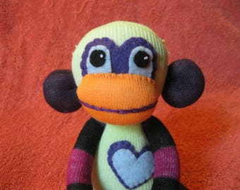 Spence - Best Friend Sock Monkey Plush - Purple Stripes Yellow - Handmade Doll