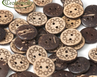 Coconut buttons with flower pattern - set of 20 buttons - I002-077