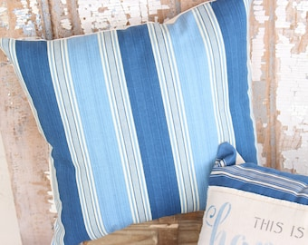 Beach Lake Cottage House Blue Driftwood & Sand Striped Ticking Canvas Decorative Throw Pillow