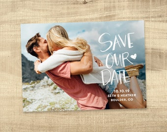 Save the Date, Save the Date with Pictures, Printable Save the Date Card, Engagement Photo Save the Dates, Save the Date Postcard