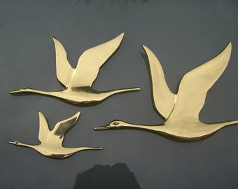 Vintage Set 3 Brass Flying Birds / Geese, Wall Art, 1960s