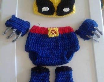 Crochet Wolverine  baby costume pattern,Crochet Pattern, baby pattern,  baby wolverine