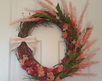 SALE! Spring In Pink Wreath