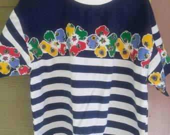 Vintage 80s Gitano Striped Floral Shirt Top Blouse Size L