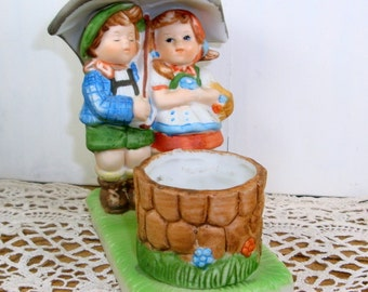Vintage Ceramic Bisque Girl and Boy Under Umbrella, Figurine, Candle Holder, Accessory, Tealight  (539-14)