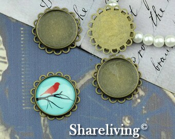 10PCS Antique Bronze Double Lace Edge With 20mm Cameo Base Setting Pendant