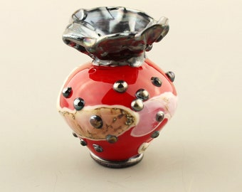 Hollow Lampwork Glass Bead, Focal, Red, Black, Ivory