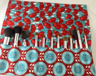 Makeup Brush Holder - Makeup Brush Roll Makeup Brush Case Makeup Brush Organizer  Makeup Brush Bag Riley Blake Desert Bloom Medallion in Red