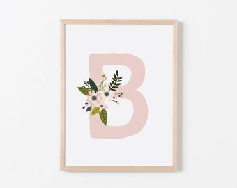 Gray Sprigs B Nursery Art. Nursery Wall Art. Nursery Prints. Nursery Decor. Girl Wall Art. Personalized Wall Art. Monogram Art. Floral Art.