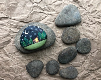 """Hand Painted Rock: """"Tiny House at Night"""". Nature art. Naturalist. Home decor"""