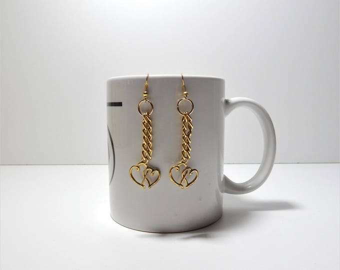 Gold hoop earrings, Heart hoop earrings, Tribal heart earring