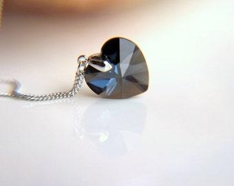 Elegant navy gray Swarovski crystal  heart necklace: Rhodium plated  chain necklace