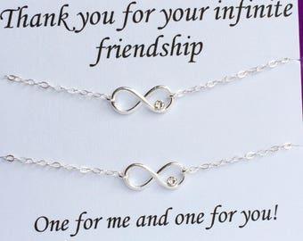 Sterling Silver Infinity Heart Bracelet, Best Friends Bracelet, Friends Bracelet, Sisters Bracelet, Infinity Love, Infinity