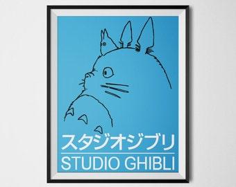 Studio Ghibli Poster Totoro Print My Neighbor Totoro Poster Studio Ghibli Art Japanese Anime Cartoon Digital Print Totoro Wall Art
